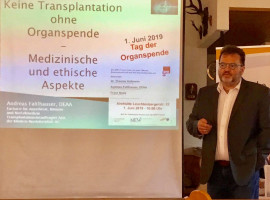 Andreas Faltlhauser berichtete aus seiner Arbeit als Transplantationsbeauftragter.